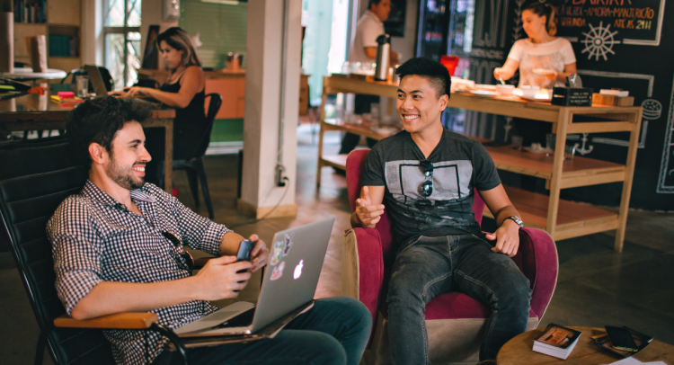 Two men in a co-working environment
